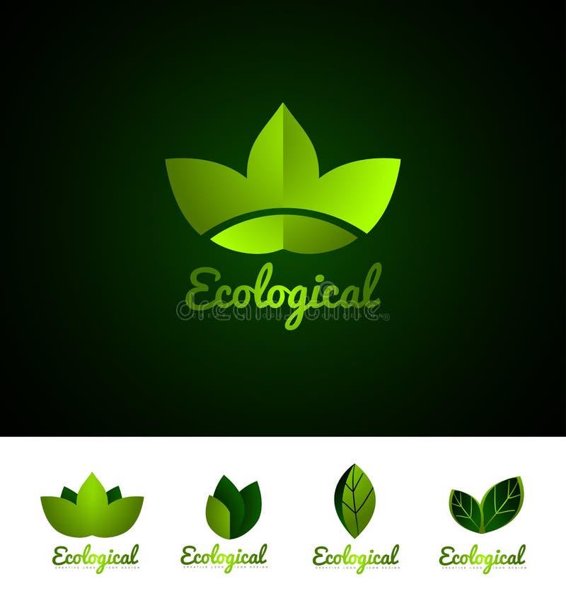 Ekologicznego liścia loga ikony ustalony projekt ilustracja wektor