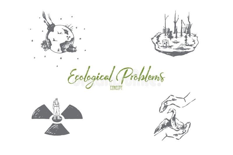 Ekologiczni problemy - oszcz?dzanie rzadcy gatunki, zanieczyszczenie, globalny wrming wektorowy poj?cie set ilustracji