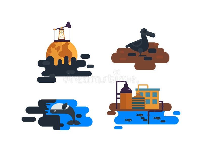 Ekologiczni problemy, zanieczyszczenie środowiska wektor royalty ilustracja