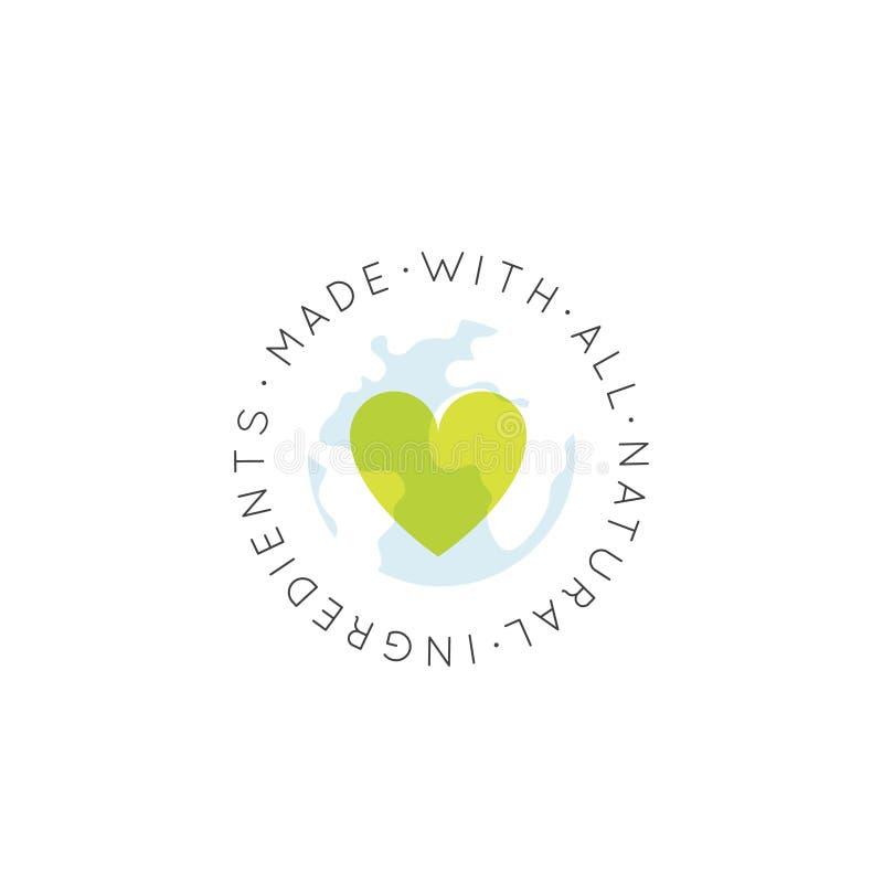 Ekologicznie Życzliwy, Eco produkt, Naturalna Życiorys składnik etykietki odznaka, Zielony pojęcie ilustracji