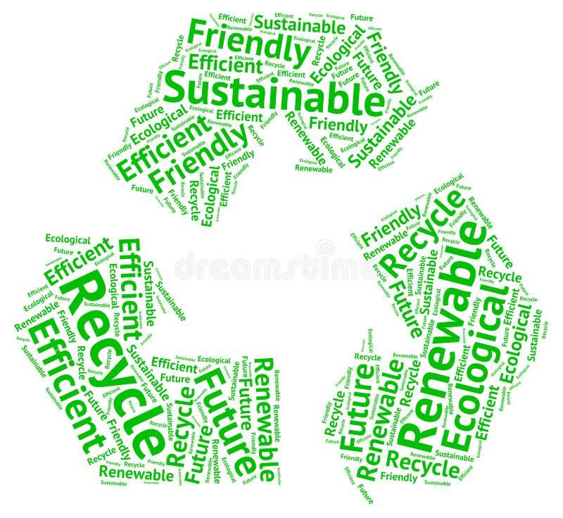 Ekologiczny kolarstwo okrąg tworzący z słowami: przetwarza, przyszłość ilustracji