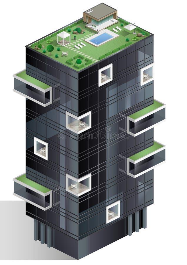 Ekologiczny mieszkaniowy kompleks ilustracja wektor