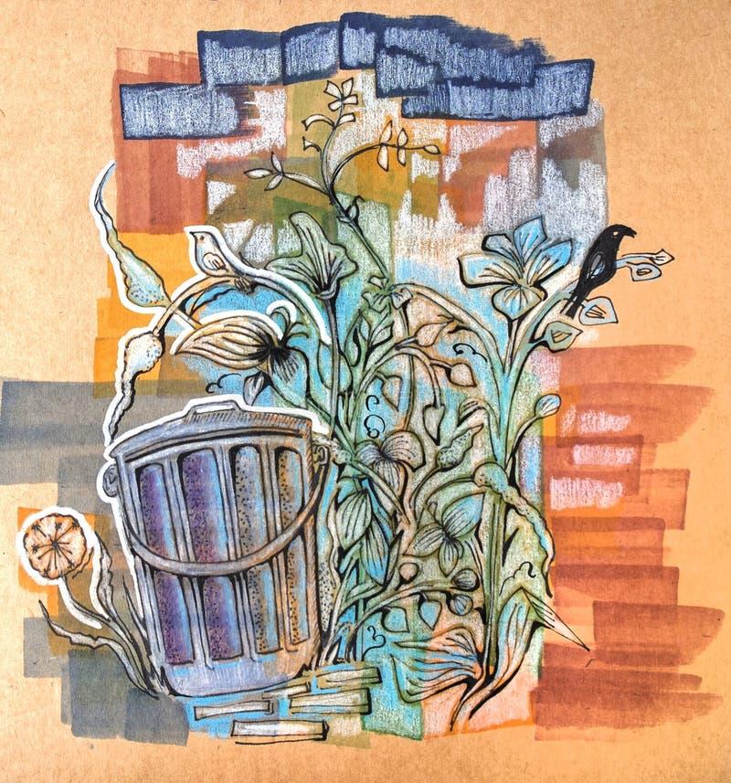 Ekologiczny nakreślenie dalej przetwarza papier ilustracji