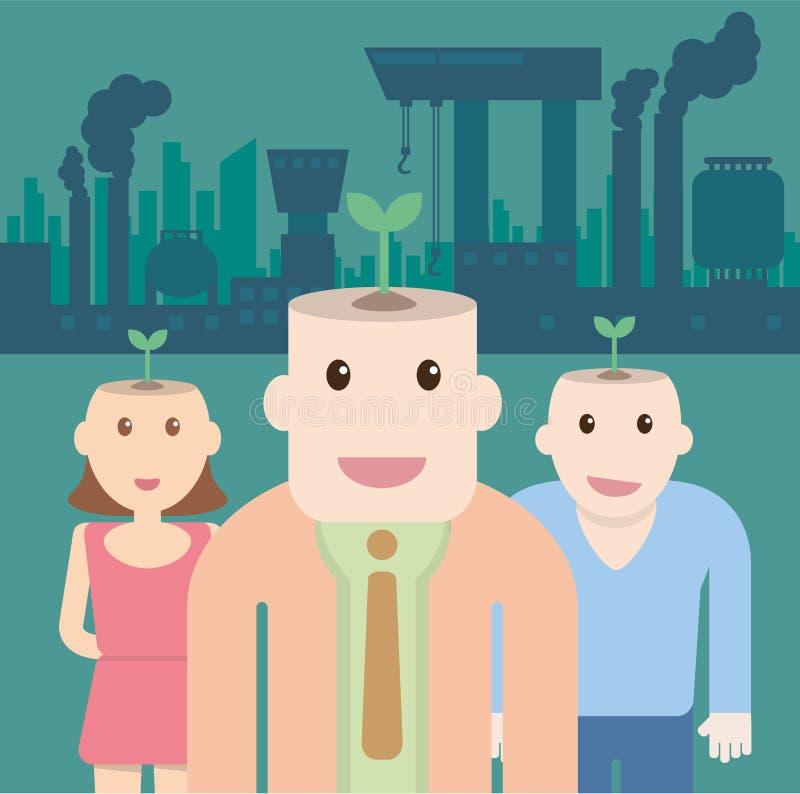 Ekologiczny pojęcie z rośliną na kierowniczych ludziach i fabrycznym polluti royalty ilustracja