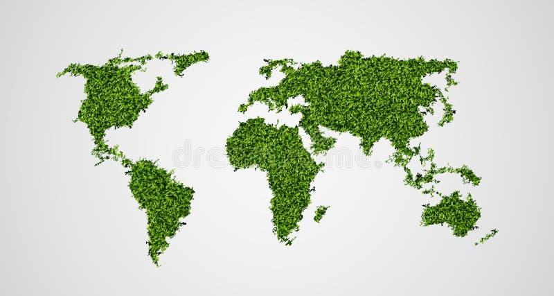 Ekologiczny pojęcie zielona światowa mapa royalty ilustracja