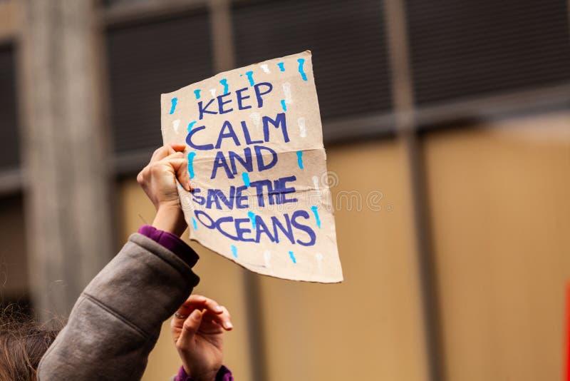 Ekologiczny protestacyjny denny zanieczyszczenie plakat obraz royalty free