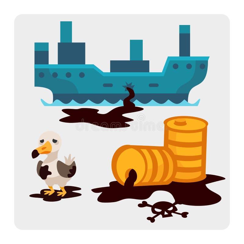 Ekologicznych problemów środowiskowy nafciany zanieczyszczenie wody ziemi powietrza wylesienia zniszczenie zwierzęta mleje fabryk ilustracja wektor