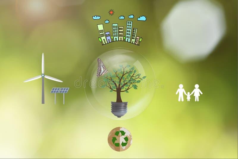 Ekologihuset och sol-, väderkvarn, återanvänder, familjen royaltyfria bilder