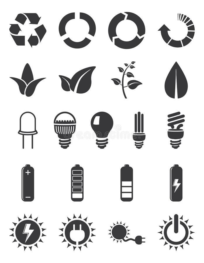 Ekologii energetyczny ikony set ilustracji