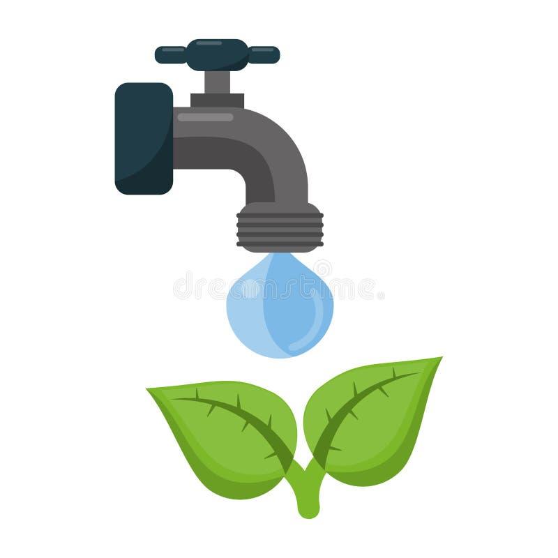 Ekologii faucet klepnięcie z wodą royalty ilustracja