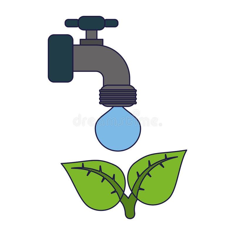 Ekologii faucet klepnięcie z wodą ilustracja wektor