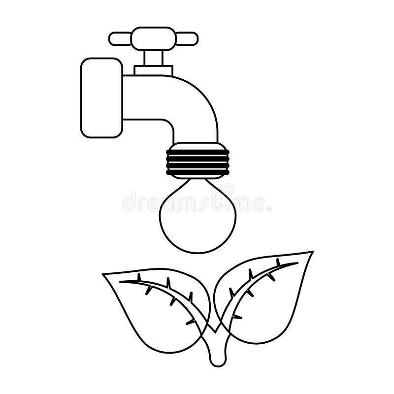 Ekologii faucet klepnięcie z wodny czarny i biały ilustracja wektor