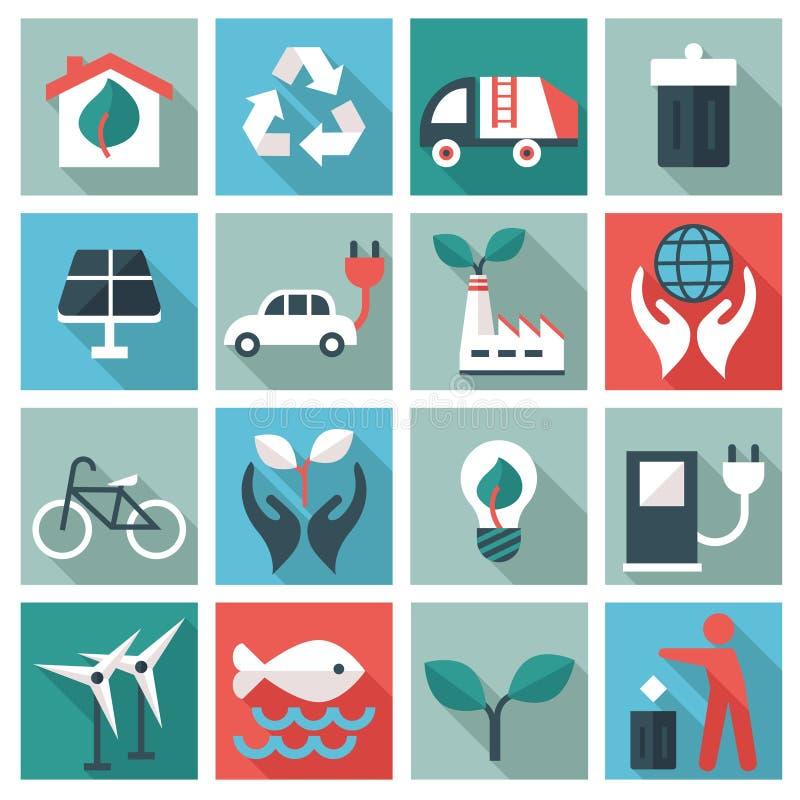 Ekologii ikony set ilustracji