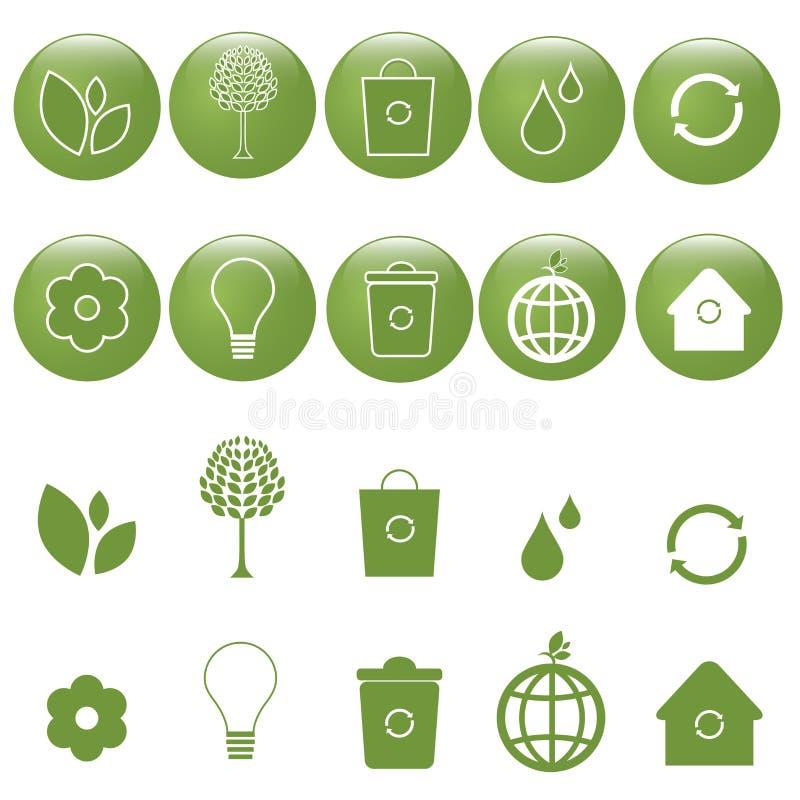 ekologii ikony ustawiający wektor royalty ilustracja