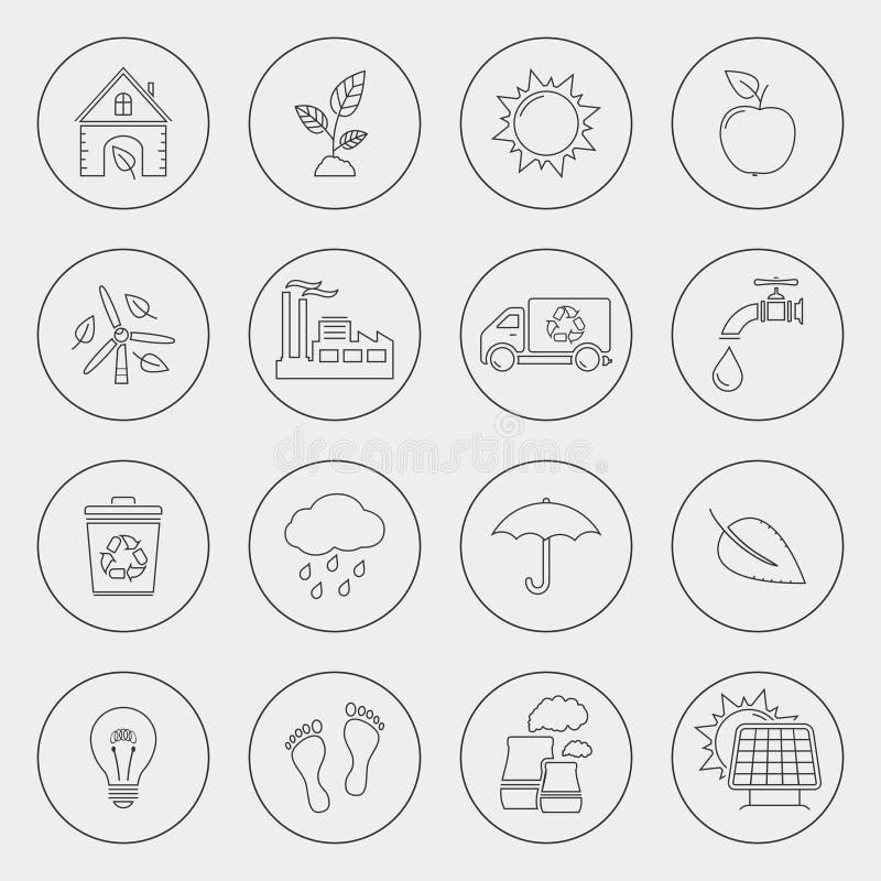 Ekologii ikony z okrąg linią royalty ilustracja