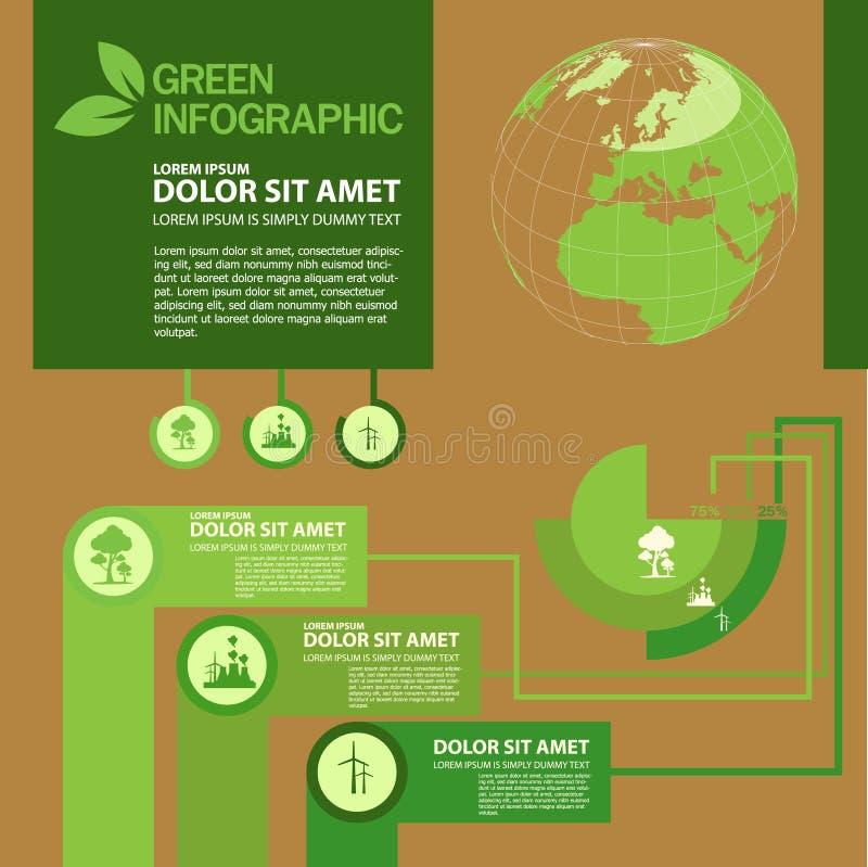 Ekologii Infographic projekta szablon z graficznymi elementami ustawia ilustrację Wektorowa kartoteka w warstwach dla łatwego edy royalty ilustracja