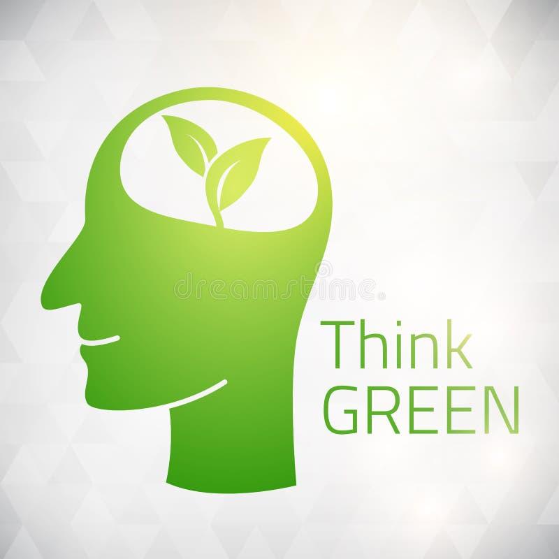 Ekologii myśli zieleni głowy mózg ilustracji
