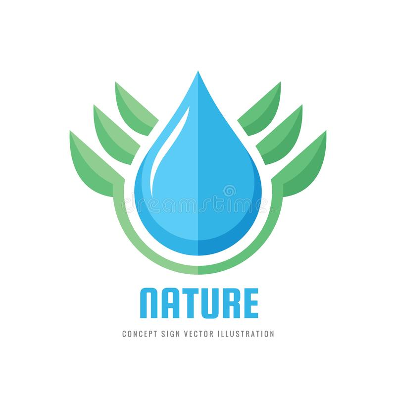 Ekologii natura - wektorowa logo pojęcia ilustracja Abstrakt zieleni liście i wody kropli znak Organicznie produktu symbol ilustracja wektor