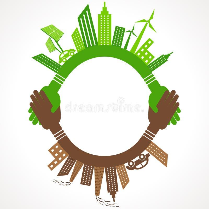 Ekologii pojęcie eco i zanieczyszczający pejzaż miejski - royalty ilustracja