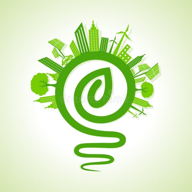 Ekologii pojęcie - eco pejzaż miejski z żarówki i liścia ikoną royalty ilustracja