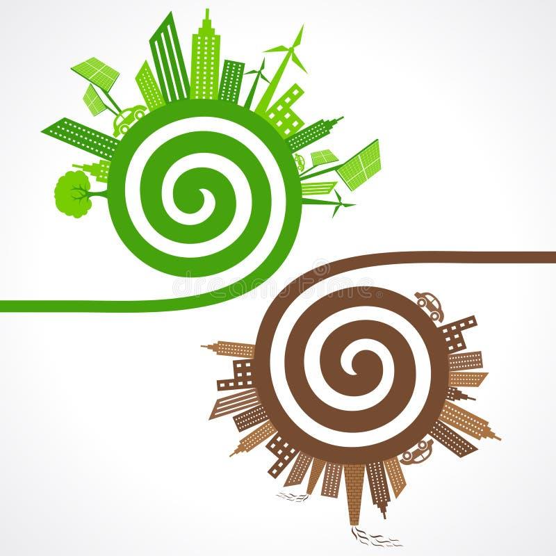 Ekologii pojęcie z eco i zanieczyszczającymi miastami również zwrócić corel ilustracji wektora ilustracji