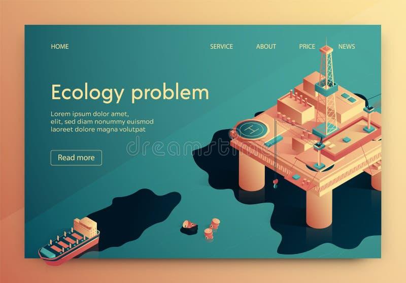 Ekologii Problemowy Wektorowy Ilustracyjny Isometric ilustracja wektor