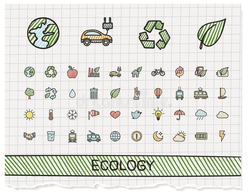 Ekologii ręki rysunku linii ikony ilustracja wektor