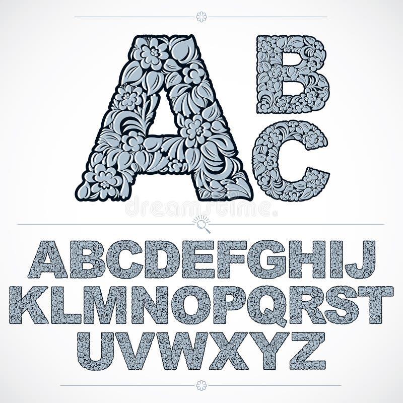 Ekologii stylowa błękitna kwiaciasta chrzcielnica, wektor typeset zrobił używać natura ilustracja wektor