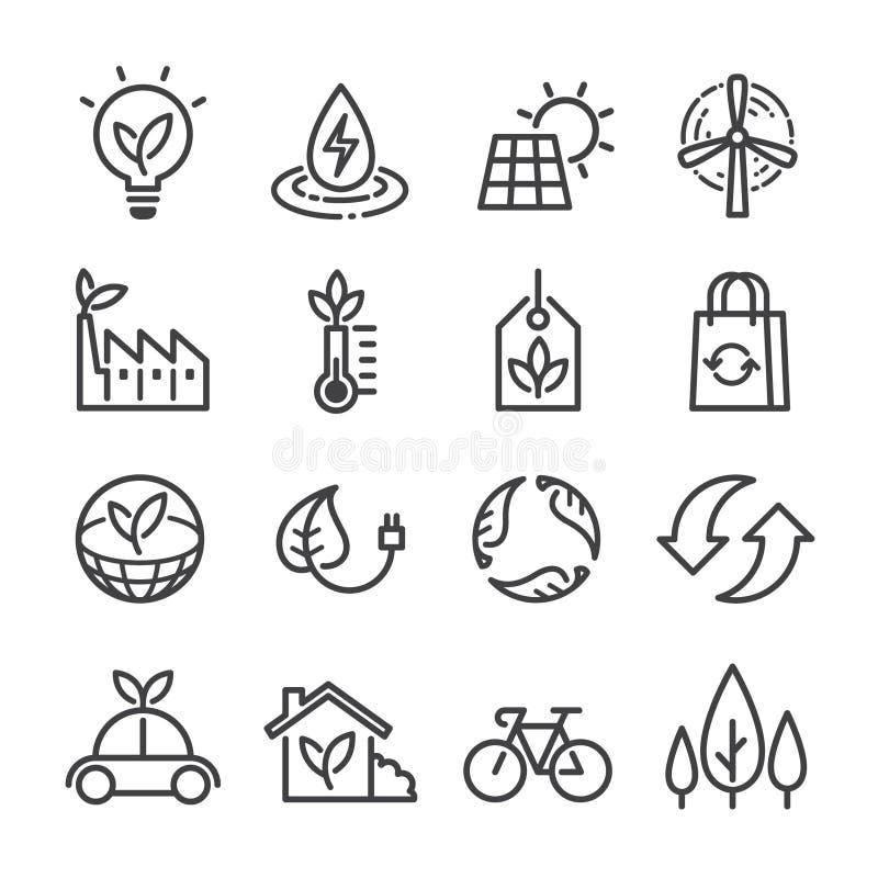 Ekologii Wektorowe ikony Ustawiać, mieszkanie Cienki Kreskowy styl ilustracji