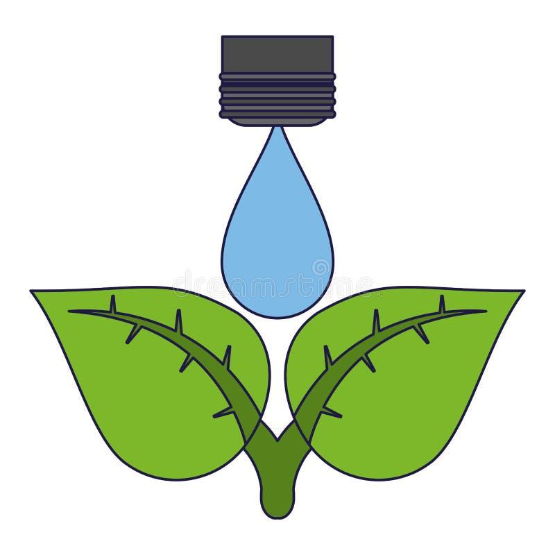 Ekologii wody kropla na roślinie ilustracja wektor