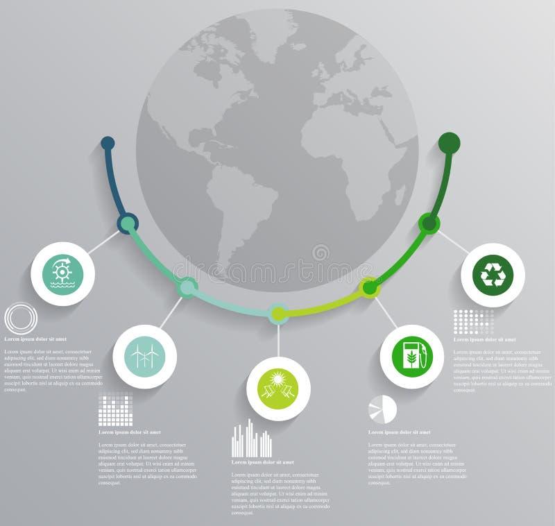 EkologiInfographic beståndsdelar stock illustrationer