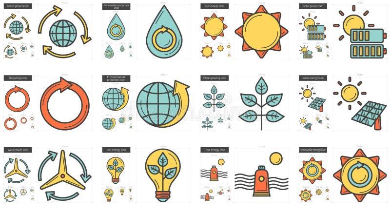 Ekologilinje symbolsuppsättning vektor illustrationer