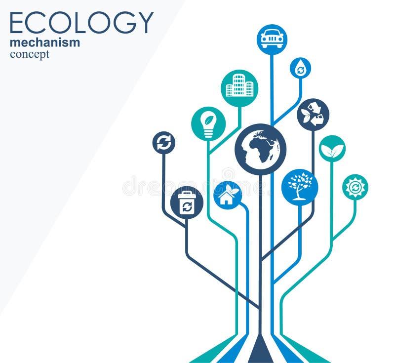 Ekologimekanismbegrepp Abstrakt bakgrund med förbindelsekugghjul och symboler för ecovänskapsmatchen, energi, miljö stock illustrationer