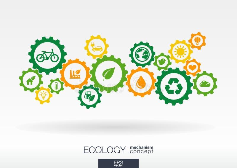 Ekologimekanismbegrepp Abstrakt bakgrund med förbindelsekugghjul och symboler för vänlig energi för eco, miljö royaltyfri illustrationer