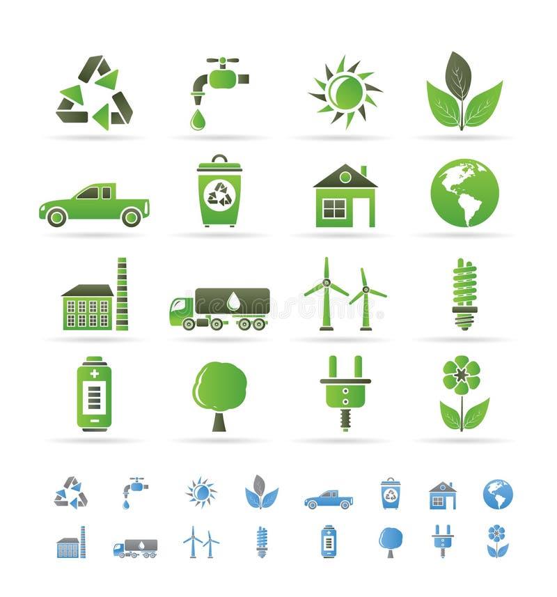 ekologimiljösymboler stock illustrationer