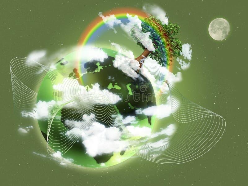 Ekologisk begreppsillustration av grön planetjord Begrepp av nytt liv, födelse, pånyttfödelse och hopp; ekologi vektor illustrationer