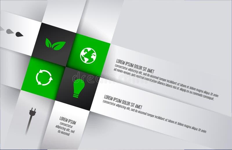 Ekologisk fyrkantig kubaskinfographics med symboler Fyrkantig bakgrund för affärsidéer wallpaper också vektor för coreldrawillust royaltyfri illustrationer