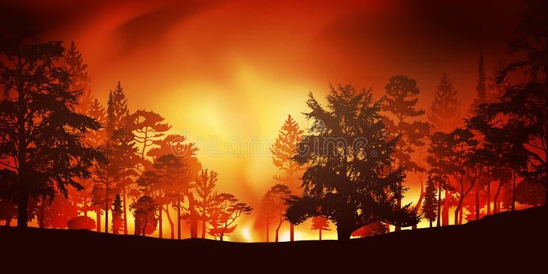 Ekologisk katastrof med en skogsbrand royaltyfri illustrationer