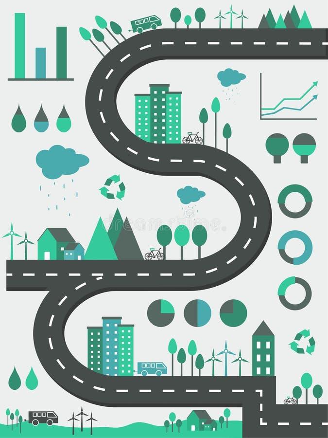 Ekologiska infographic beståndsdelar med stadssikt stock illustrationer