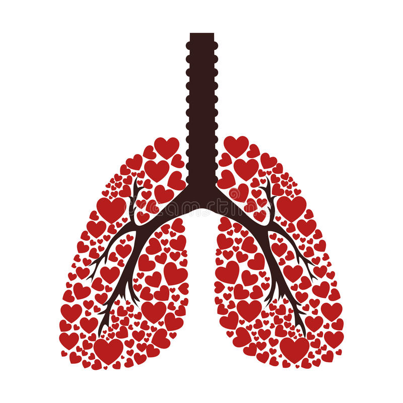 Ekologiska lungor isolerade symbolen royaltyfri illustrationer