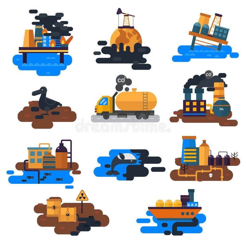 Ekologiska problem: miljöbelastning av vatten, jord, luft, skogsavverkning, förstörelse av djurvektorn stock illustrationer