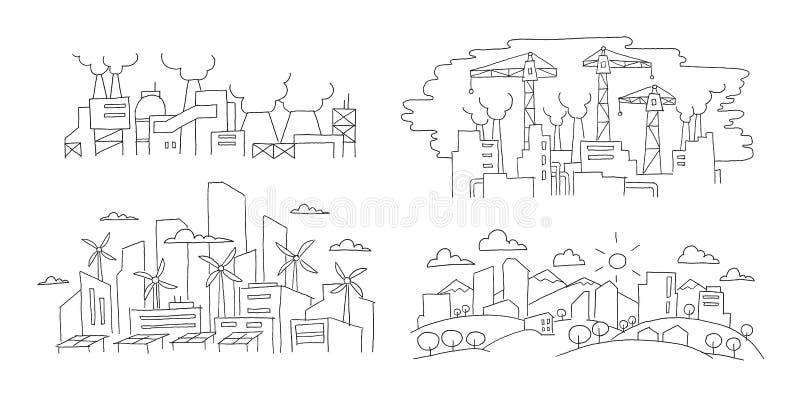 ekologiska problem Stad och fabriker Hand tecknad vektorillustration Förnybara energikällorstad och föroreningmiljö royaltyfri illustrationer