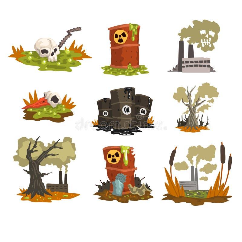 Ekologiska problem uppsättning, förorening av vatten, jord, luft, illustration för miljöbelastningbegreppsvektor på ett vitt stock illustrationer