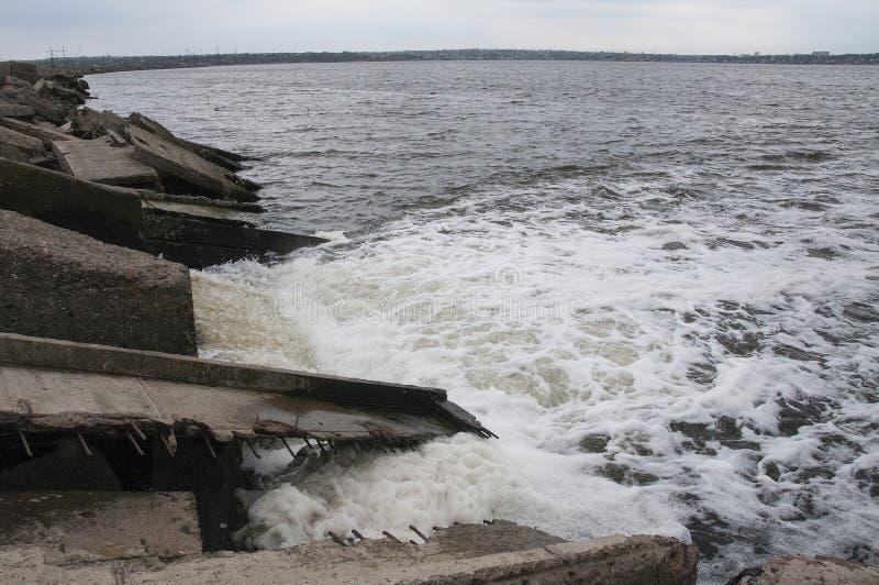 ekologiskt problem Urladdning av smutsigt kloakvatten in i gästgivargården arkivfoto