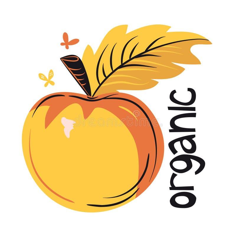 Ekologiskt produkter, grönsaker och frukter stock illustrationer