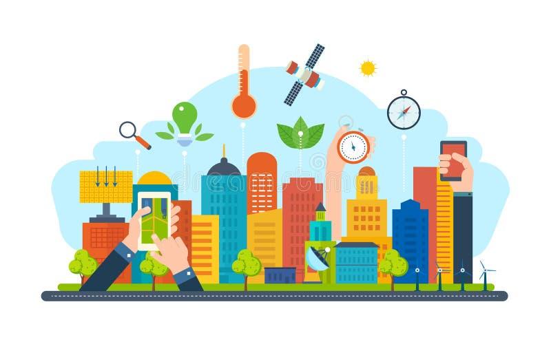 Ekologiskt stadsbegrepp Ny eco-vänskapsmatch teknologi, infrastruktur, kommunikation, teknologiskt framsteg stock illustrationer