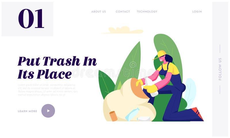 Ekologiskydd, ställa upp som frivillig kvinnan som att samla kasserar för att plundra rengörande avskräde parkerar in St?lla upp  royaltyfri illustrationer