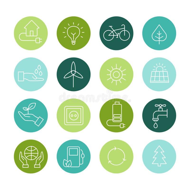Ekologisymboler, organiska naturliga symboler stock illustrationer