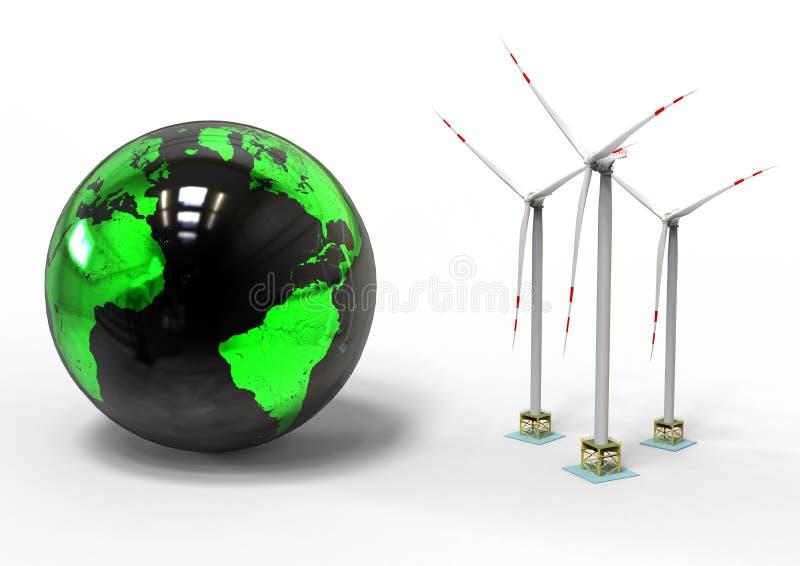 Ekonomi för vindturbin royaltyfri illustrationer