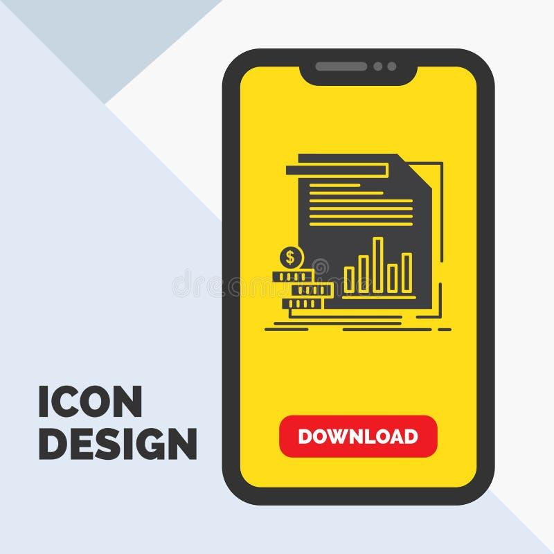 ekonomi finans, pengar, information, rapportskårasymbol i mobilen för nedladdningsida Gul bakgrund vektor illustrationer
